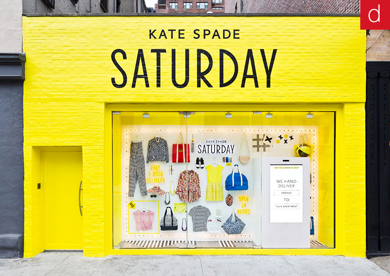 Supports interactifs Kate Spade marketing vitrine interactive