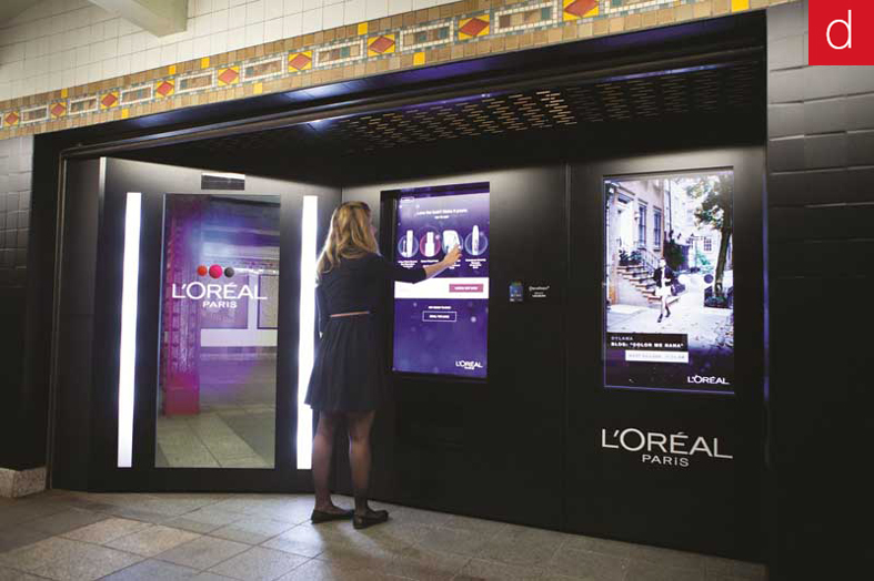 Supports interactifs l'Oréal metro New York vitrine tactile totem