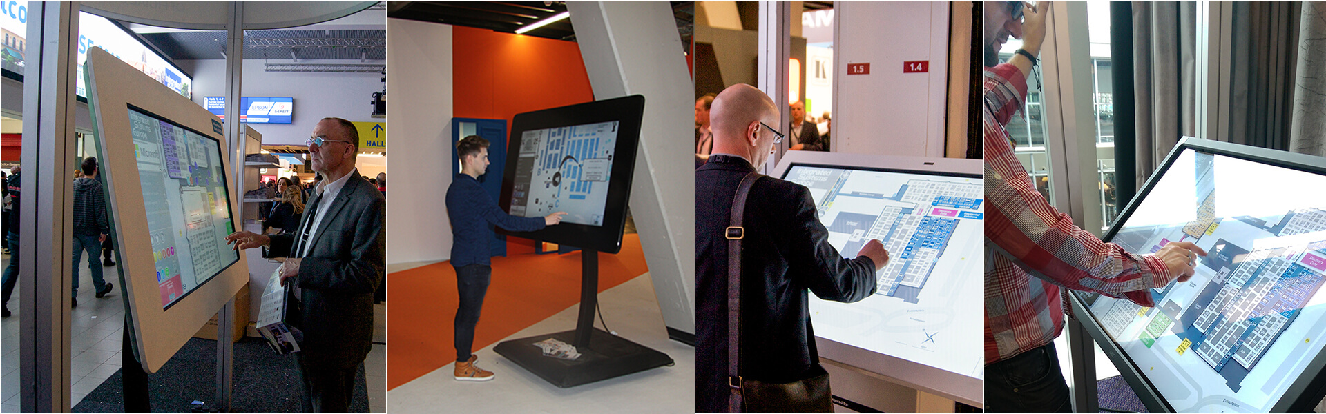 Borne tactile pivotable 55 pouces carte interactive centre commercial
