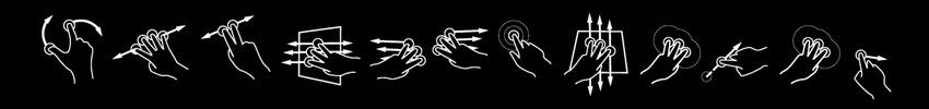 gestes multitouch sur borne tactile pivotable