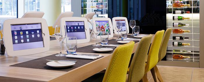 menu de restaurant sur borne iPad de comptoir