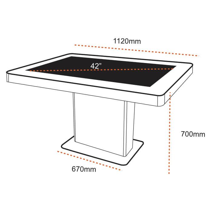 plan technique de la table tactile 42 pouces