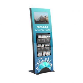 Borne vidéo 19 pouces avec porte brochures stickers