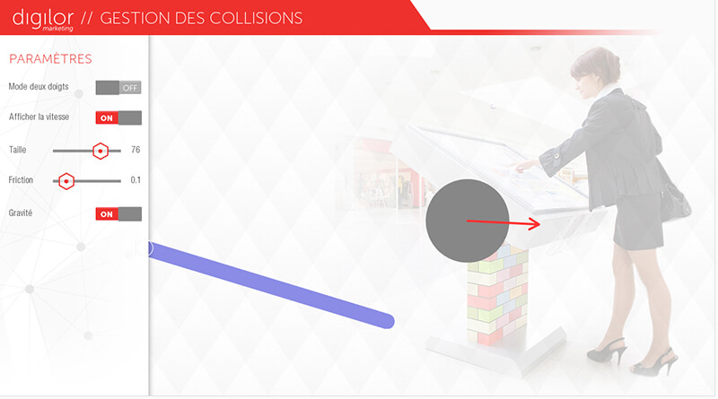 Application tactile collision interactive