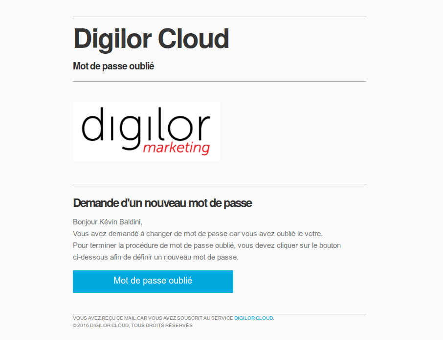 Digilor Cloud mot de passe perdu