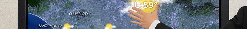 Borne tactile portrait paysage application météo