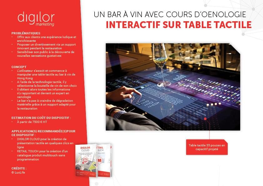 Un bar à vin avec cours d'œnologie interactif sur table tactile