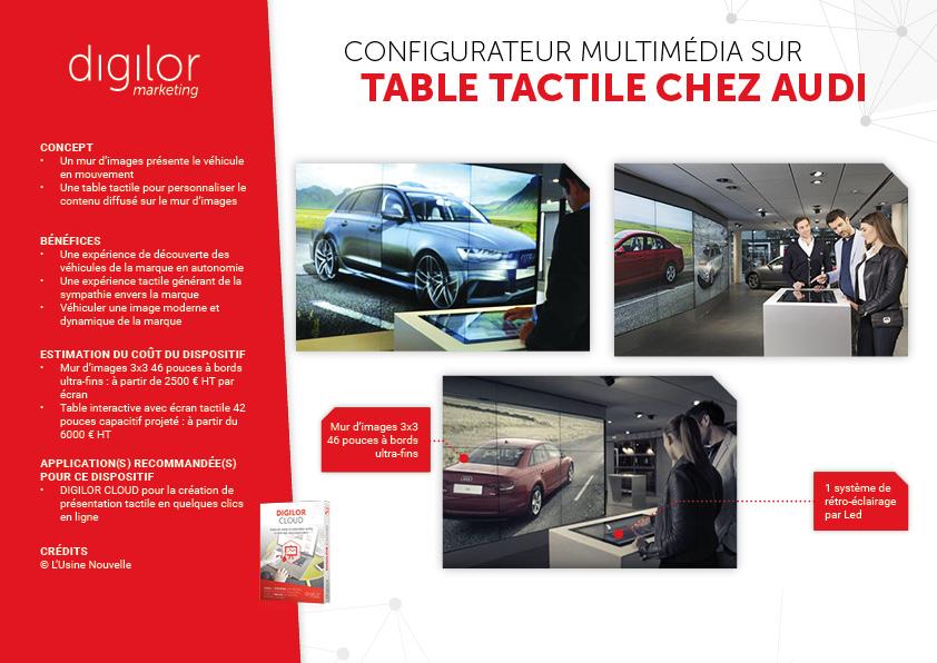 Configurateur multimédia sur table tactile chez Audi
