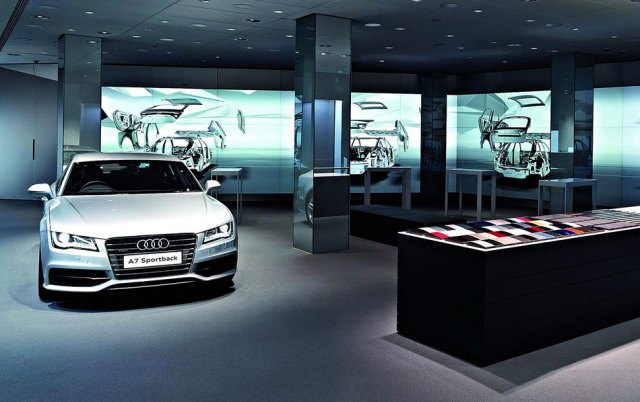 showroom automobile Audi City écrans d'affichage dynamique