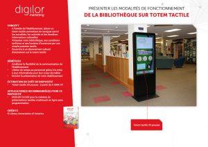 totem interactif pour présenter le fonctionnement de la bibliothèque