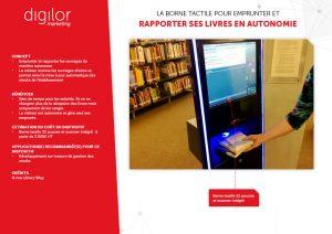 borne tactile avec scanner intégré pour emprunter et ramener livres en autonomie