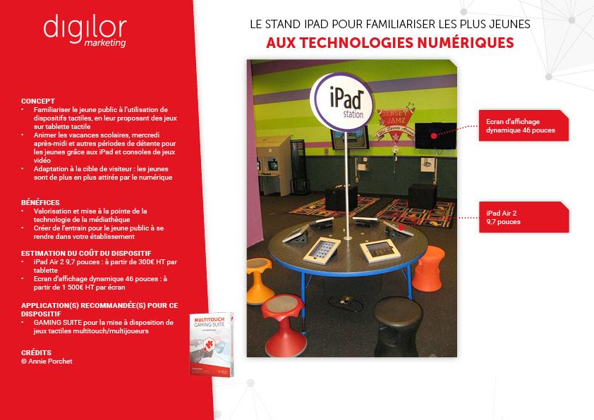 station de tablette tactile pour créer un espace interactif entre jeunes publics