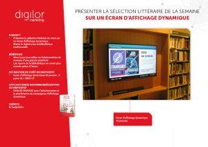 selection littéraire de la semaine présentée sur écran d'affichage dynamique