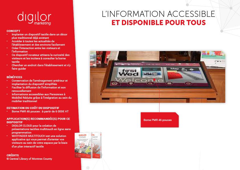 table tactile intégrée dans le mobilier existant et accessible pour tous