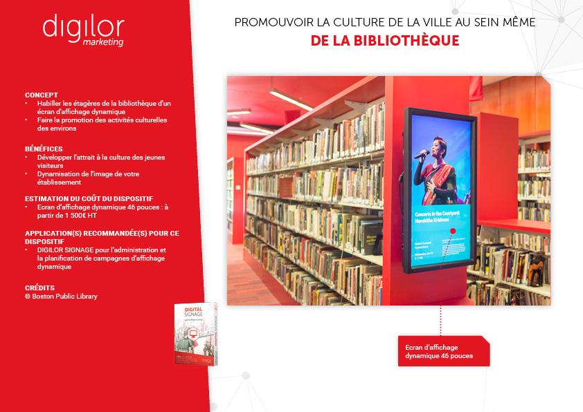promotion culture sur ecran affichage dynamique devant allées bibliotheque