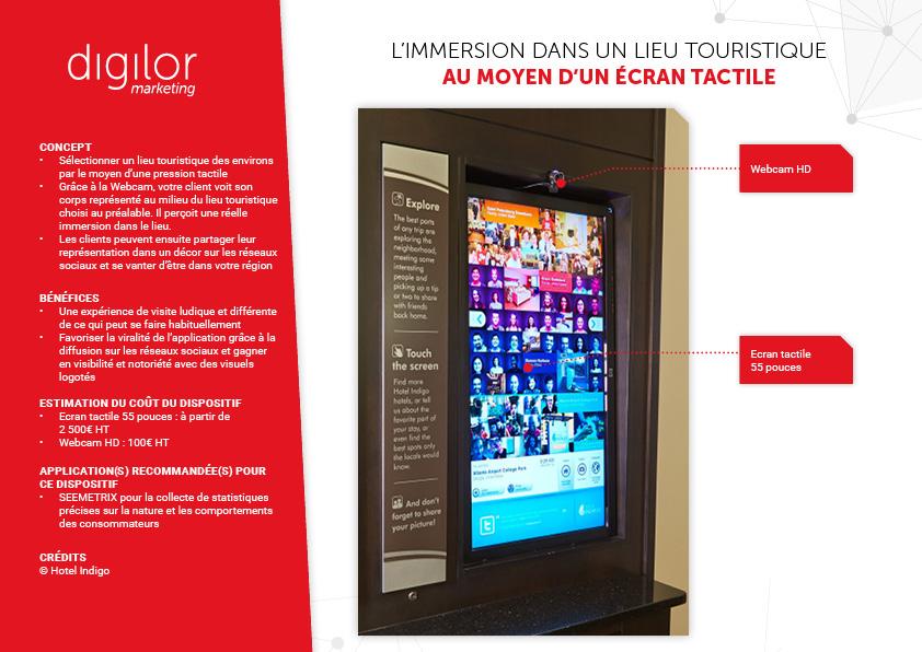 ecran tactile webcam selfie pour immersion lieu touristique et partage photos reseaux sociaux