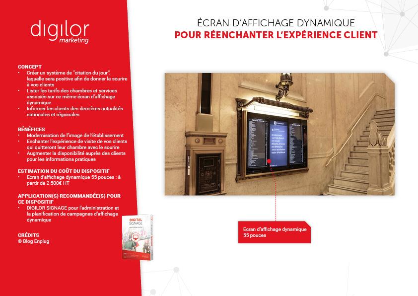 presenter offre hotel sur ecran affichage dynamique implanté dans le décor