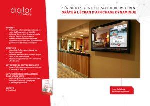 presentation differentes chambres sur ecran d'affichage dynamique entrée hotel