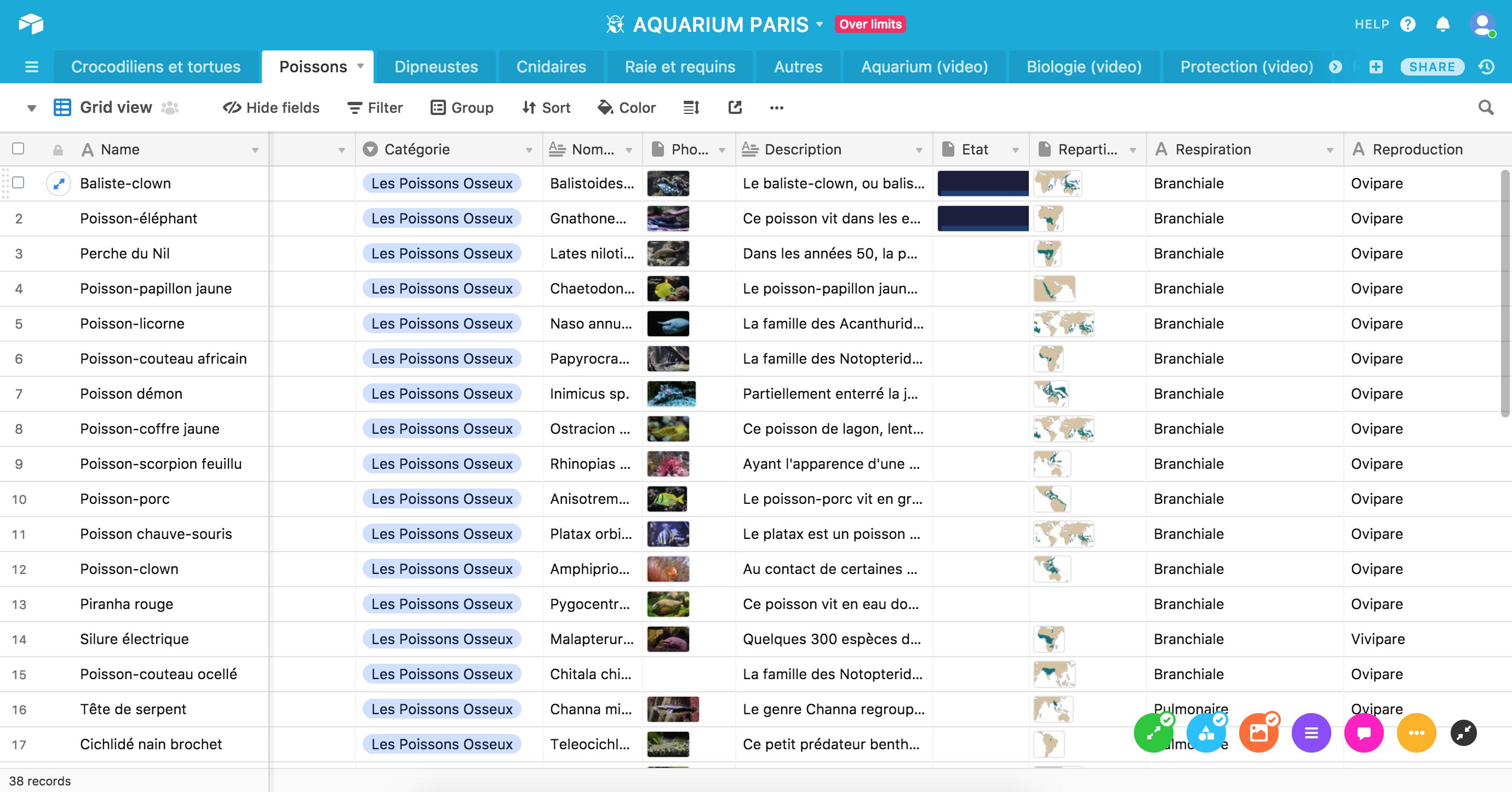 Application back office aquarium Paris