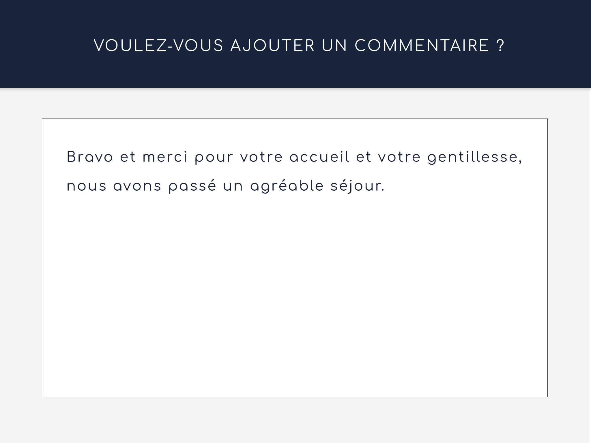 Commentaire application satisfaction client