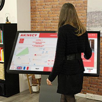 Borne interactive 4K 49 pouces digitale multitouch