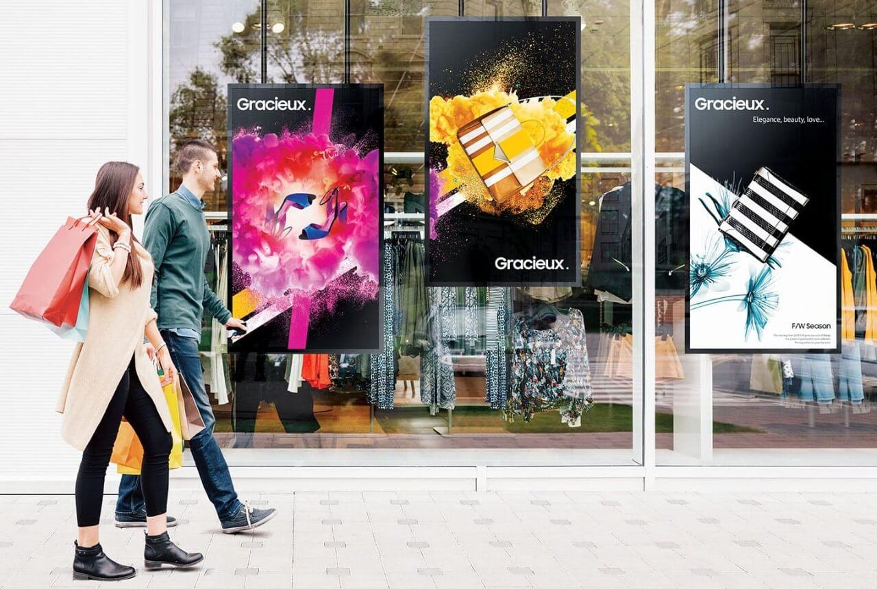 affichage dynamique en vitrine