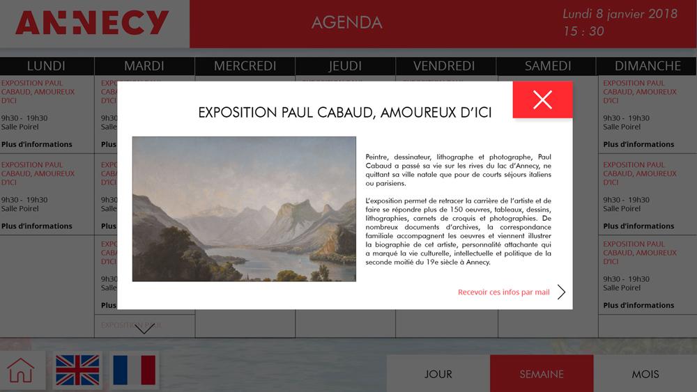 Application OTIC paysage agenda détails