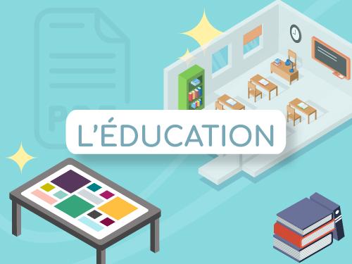 Bouton infographie digitalisation éducation