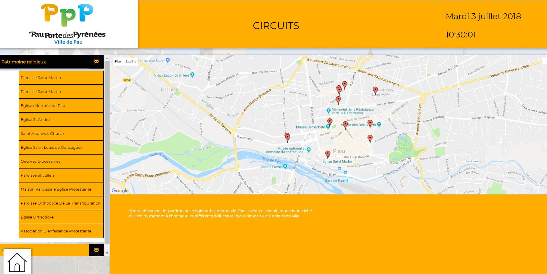 Pau application tactile circuit voyage