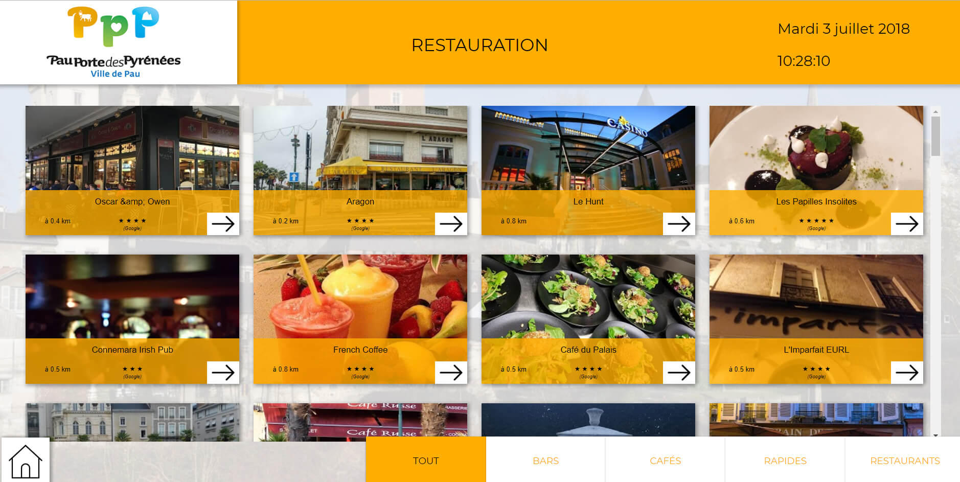 Pau application tactile restauration lieux