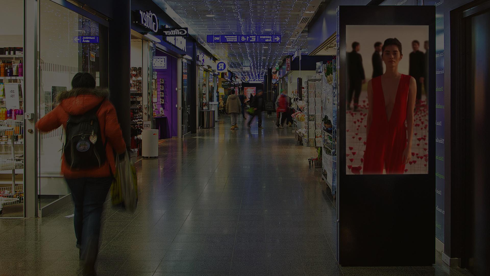 Totem vidéo multimédia centre commercial affichage dynamique