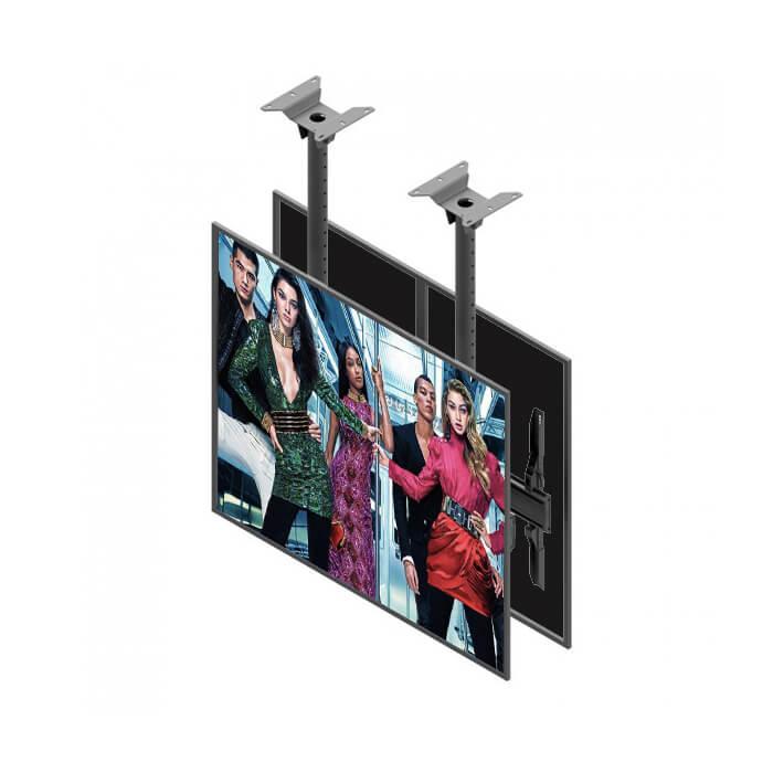 Support plafond double écran vitrine digitale affichage dynamique