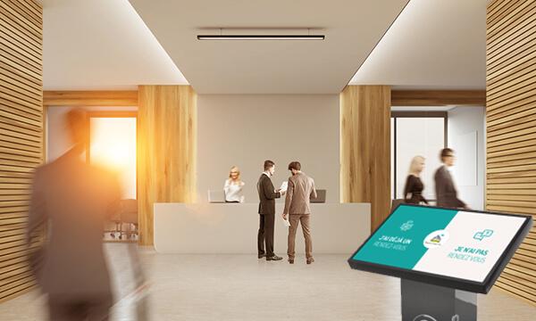Borne interactive digitalisation accueil entreprise