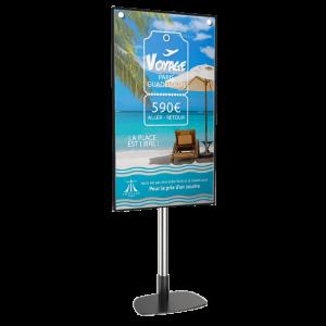 Totem vitrine 55 pouces digitalisation agence de voyages