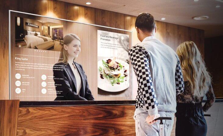 Ecran transparent OLED 55 pouces accueil hôtel