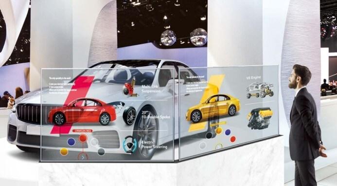 Ecran transparent OLED 55 pouces showroom