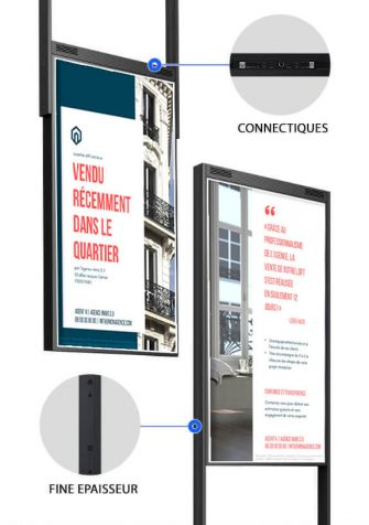totem vitrine digitale double face agence immobilière