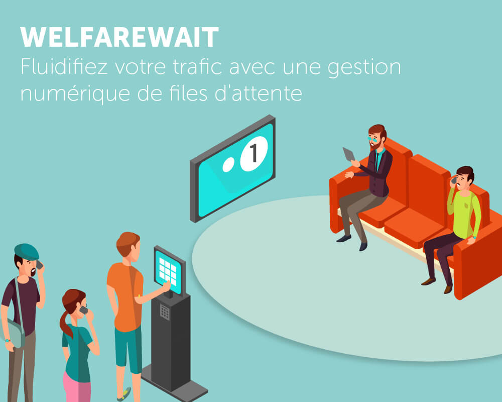 Application tactile gestion file d'attente Welfare Wait