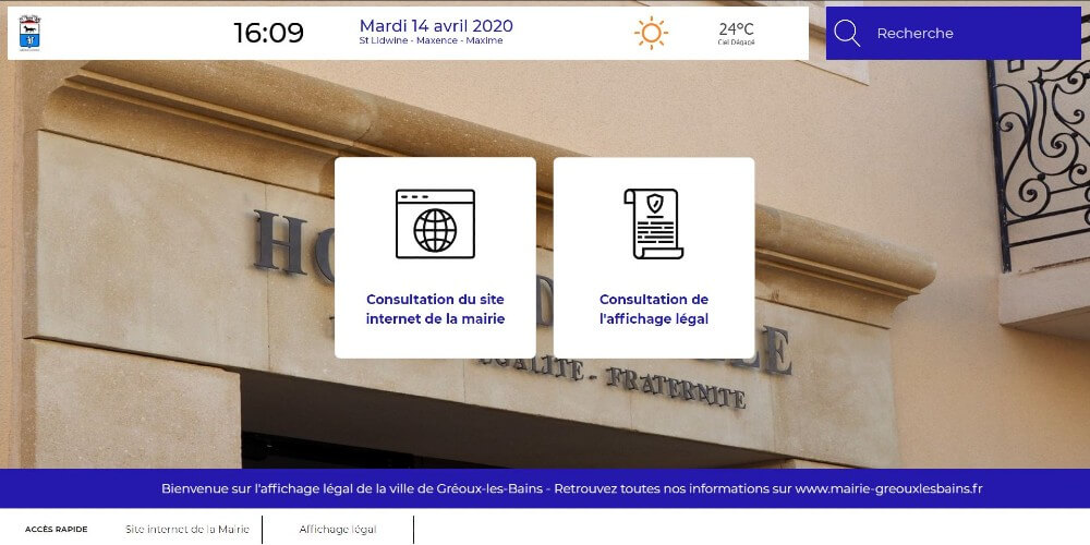 Application Datahall - Mairie Gréoux - Consultation site internet et affichage légal
