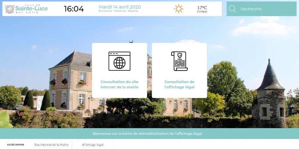 Application Datahall - Mairie Sainte Luce - Consultation site internet et affichage légal