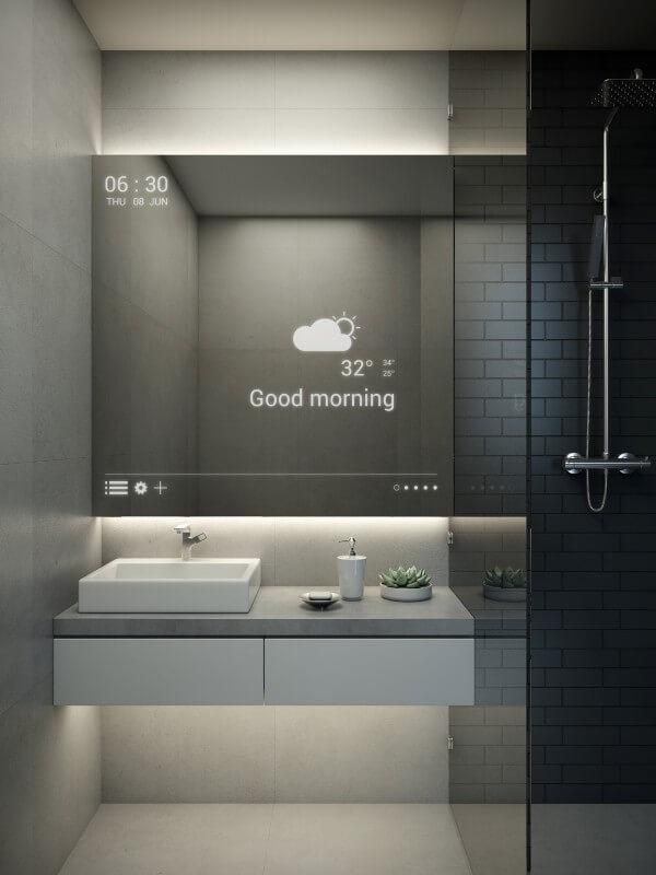 Salle de bain connectée miroir tactile