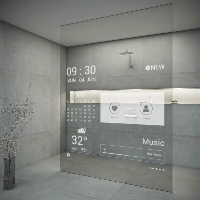 Salle de bain douche connectée écran tactile