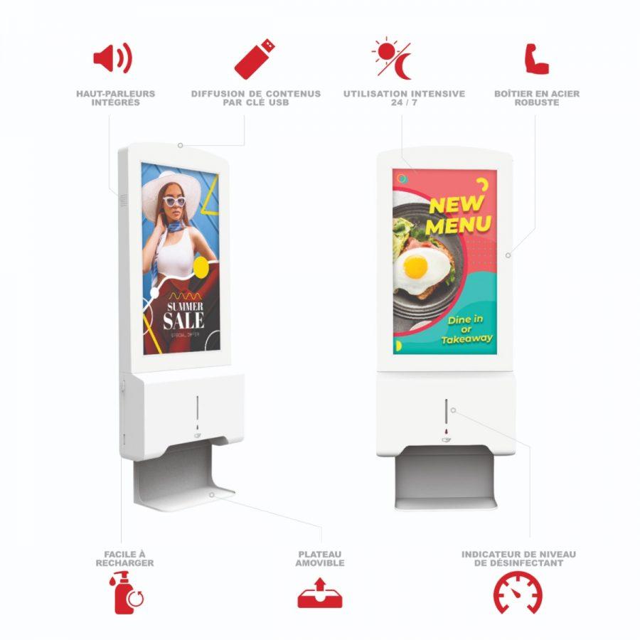 Borne distributeur de gel hydroalcoolique avec écran