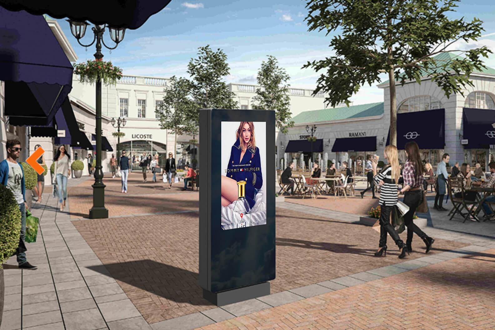 Totem affichage dynamique outdoor retail