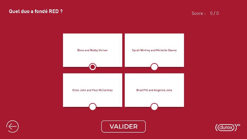 Application tactile quiz interactif questions Durex