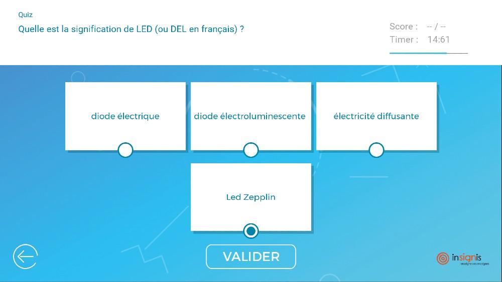 Application tactile quiz interactif questions Insignis