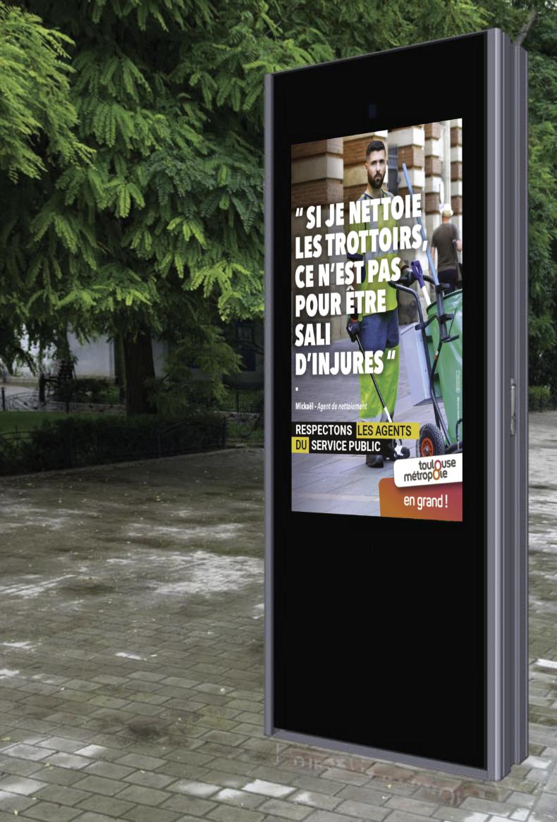 Totem AD 75 pouces campagne sensibilisation