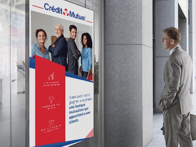 Affichage dynamique secteur banque extérieur crédit mutuel