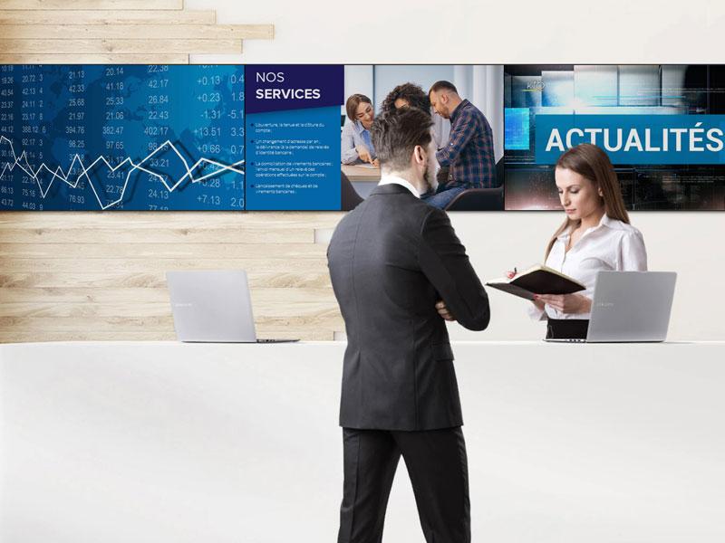 Affichage dynamique secteur banque mur d'images