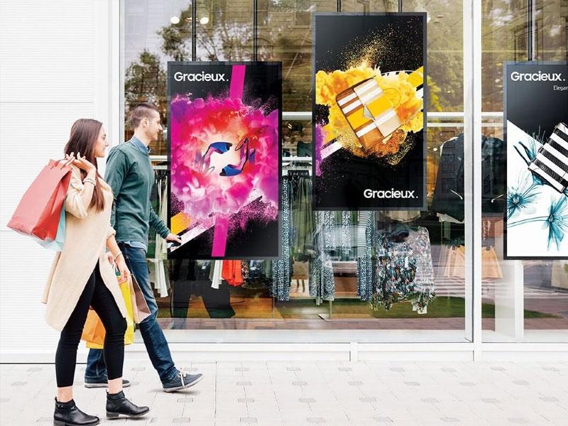 Affichage dynamique secteur retail écran vitrine